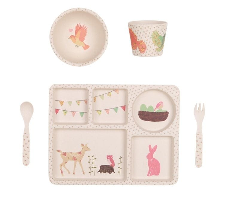 Love Mae - Woodland Tea Party - 5 Piece Bamboo Dinner Set