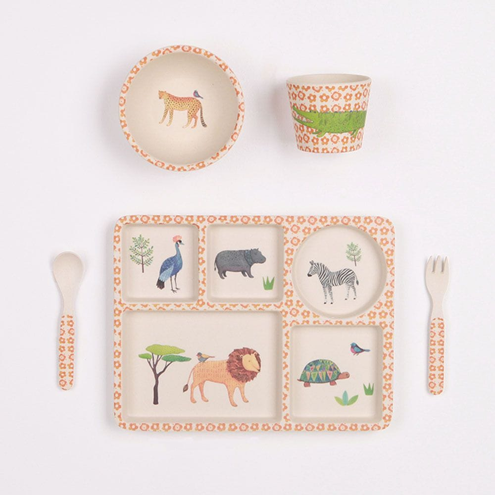 Love Mae - On Safari - 5 Piece Bamboo Dinner Set