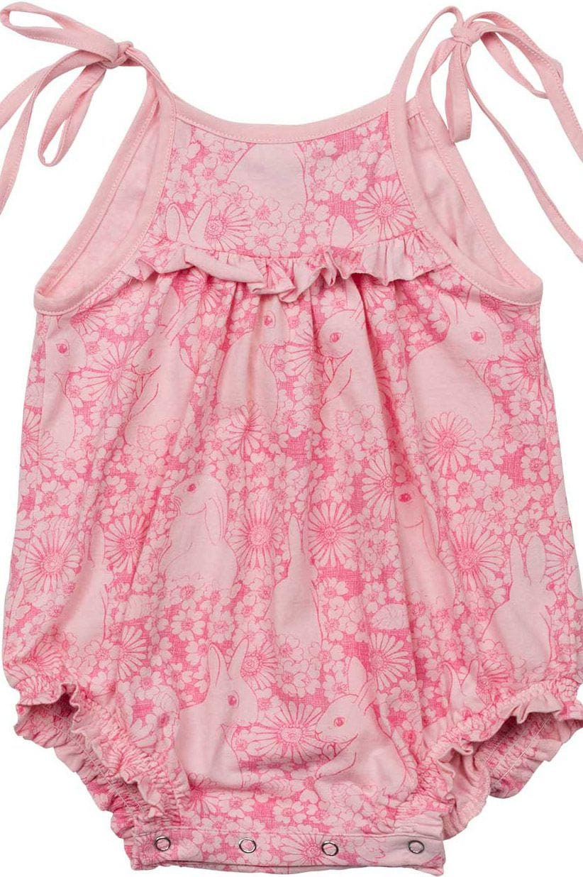 Little Wings - Romper with Ties - Bunny Floral Outline
