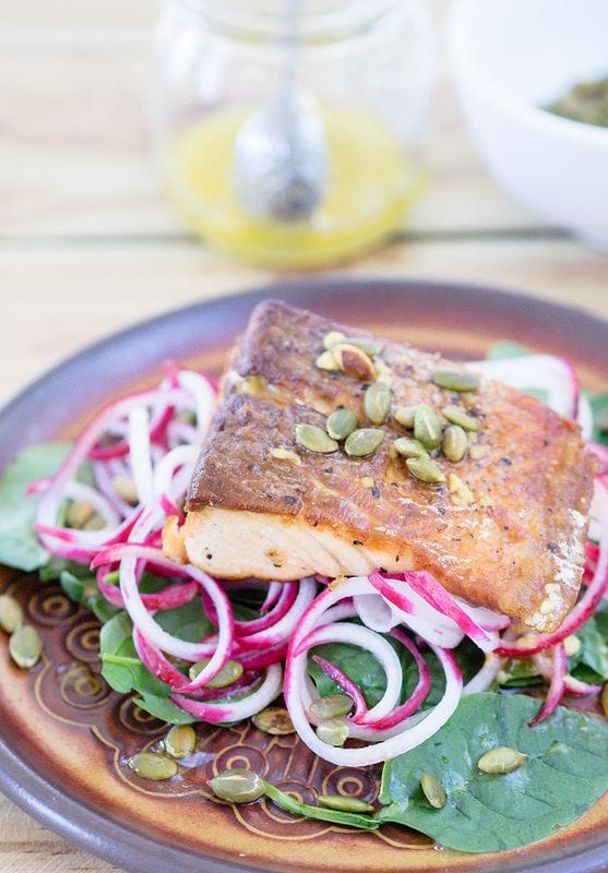 Salmon with Ginger Orange Dressing