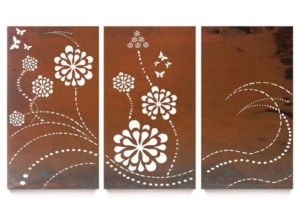 Flower Wave Triptych