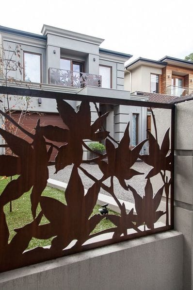 Entanglements Laser Cut Metal Art Rusted Steel Fence