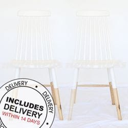 Marjorie Spindle Back Dining Chair White with Natural Legs - Set of 2