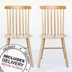 Country Spindle Back Dining Chair Oak - Set of 2