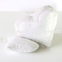 Deco Heart Beaded 17x19cm - White