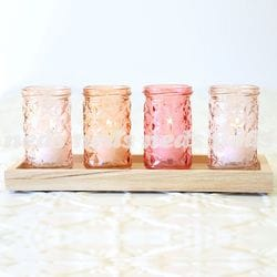 Peach Candle Holders with Base