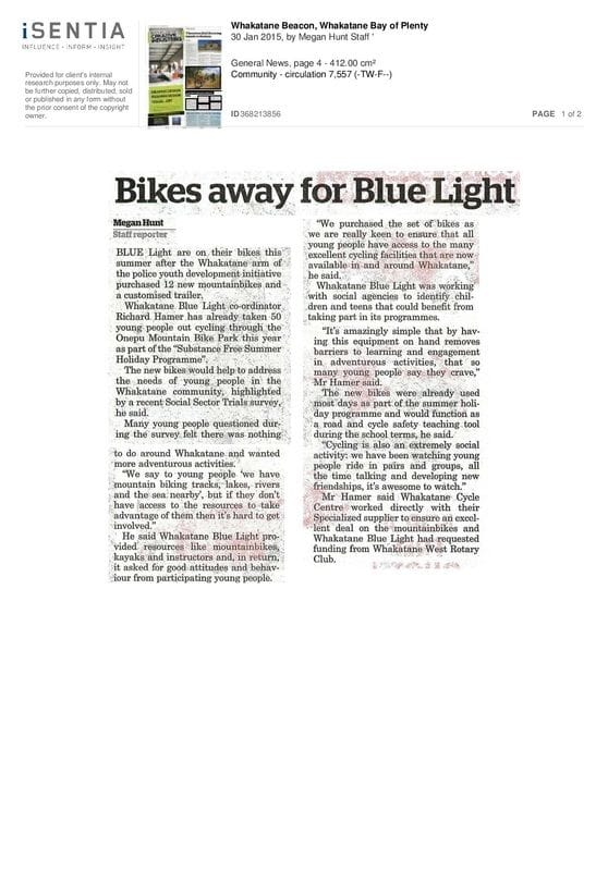Whakatane Blue Light adds mountain biking to help youngesters