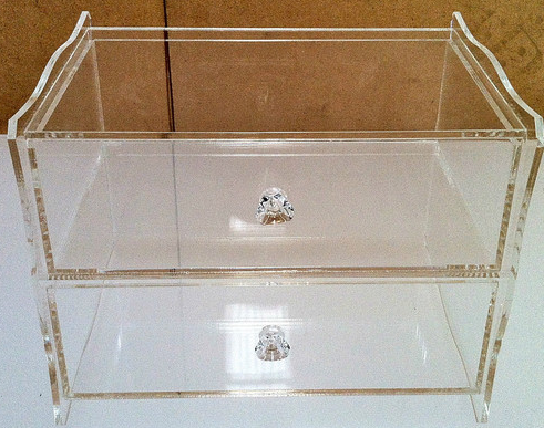 Acrylic Clear Perspex 2 Tier Jewellery Display Case Diamond Grade.