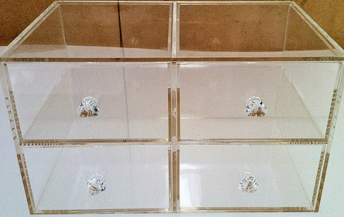 Acrylic Clear Perspex 4 Drawers Jewellery Display Case Diamond Grade Polished