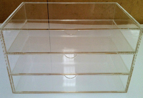 Acrylic Clear Perspex 3 Tier Jewellery Box.Diamond Grade polished.