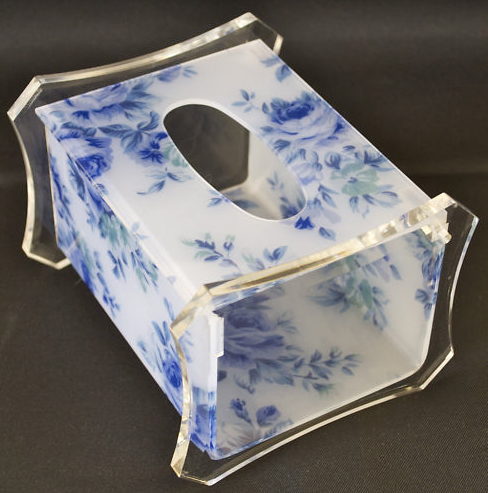 Acrylic Tissue Box holder with Blue Flower Pattern Nice