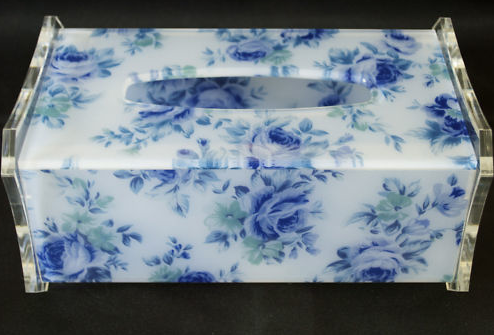 Acrylic Tissue Box holder with Blue Flower Pattern Big