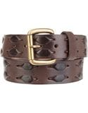 S&H WEAVE LEATHER BELT BROWN