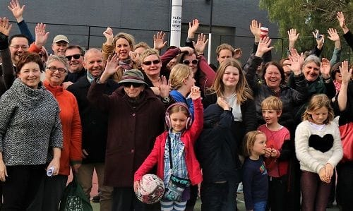 Celebrating at RYAN's Reserve netball courts in Richmond
