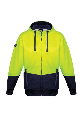 Unisex Hi Vis Textured Jacquard Full Zip Hoodie