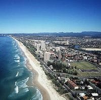 Aerial view looking south from Broadbeach, Queensland, circa 1980s [picture] McRobbie, Alexander. Image thanks to Gold Coast City Council Local Studies Library