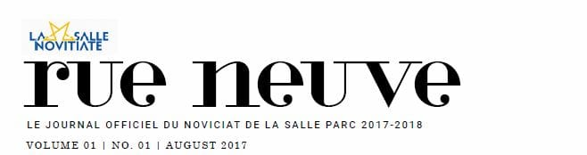 The First Issue of Rue Nueve, PARC Novitiate Newsletter