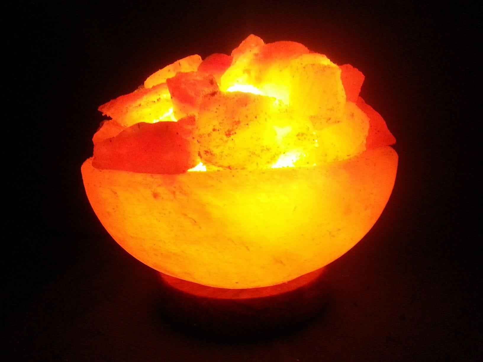Medium Fire Bowl Salt Lamp Dark Marble Base 4 - 6kg
