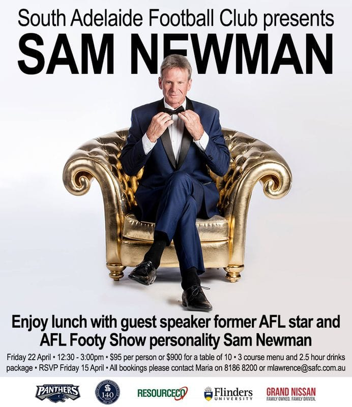 Sam Newman is Coming to South!