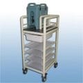 Single bay urn cart with trays and tubs