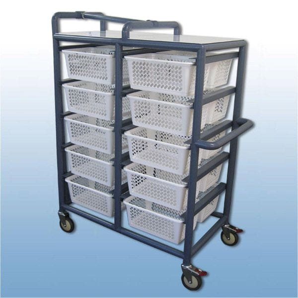 Laundry Valet Trolley (20 x Baskets) True Blue