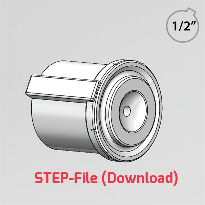 "3D Step File - 1/2"" customisable hub for use with 48mm Rotacasters (R2-0484-__)"