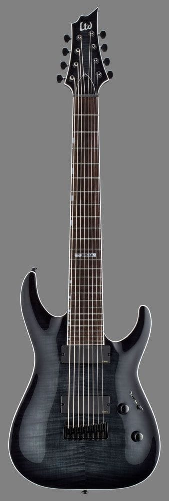 LH-408FMSTBLKSB: LTD H-408 8 STRING BARITONE ELECTRIC GUITAR