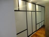 Sliding doors with white glass panels