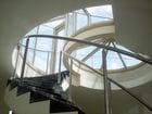 Safety Beach - Glass roofs. View from interior of segmented glass roof and an enclosed glass stairway.