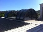 Geelong - An exterior view of the open barrel vault style bi-parting retractable roof