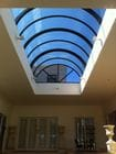 Geelong - An interior view of the closed bi-parting barrel vault style retractable roof