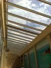Camberwell 2 - An internal view of the closed bi-parting skillion style retractable roof over a pool