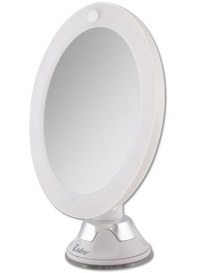 Round LED Lighted 10X Power Suction Magnifying Mirror