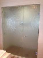 Textured Glass Shower Screen. Texture - Ocean Flow