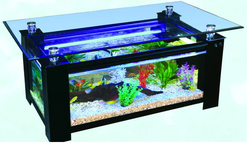 Rectangular wood finishedcoffee table glass fish tank 2 in for Rectangle fish tank