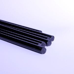 8mm x 1M Long Acrylic BLACK rod Pack of 5 pieces.