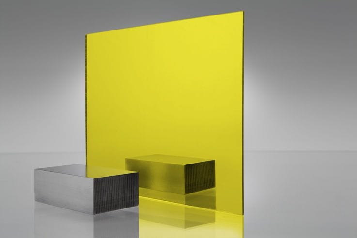 EuroMir Acrylic Yellow Mirror Sheet 300 x 600 x 3mm