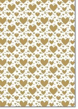A4 Designer Letterpress Paper 104gsm: Pop Hearts (Gold)