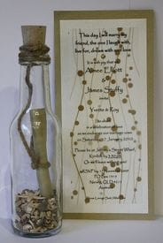 Invitation In A Bottle | Natural Gold Champagne Bubbles