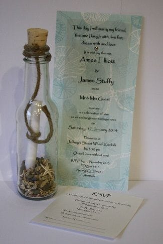Invitation In A Bottle | Natural Vintage Beach Blue