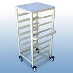 Single Bay 7 x Tray service trolley with solid top