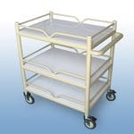 Multi-Purpose Trolley 3 x PVC shelf + 4 x Guard rails