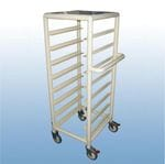 Single Bay 8 x Tray service trolley with Solid top