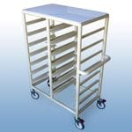 Double Bay 14 x Tray service trolley with solid top