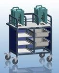 Enclosed 2 Bay double urn trolley with trays and tubs