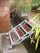 Rotacaster 125mm wheel being used on an articulating staircase between a house boat and jetty. Rotacaster wheels are made from all polymer materials making them ideal for salt water and marine environments.  Thank you to Donnally Architects Seattle for this photo. Visit www.donnallyarchitects.com for more details.