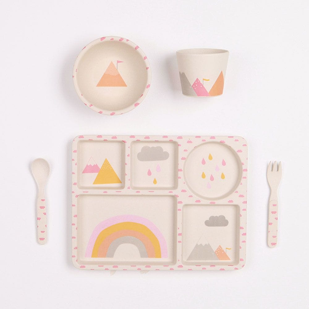 Love Mae - Rainbows - 5 Piece Bamboo Dinner Set