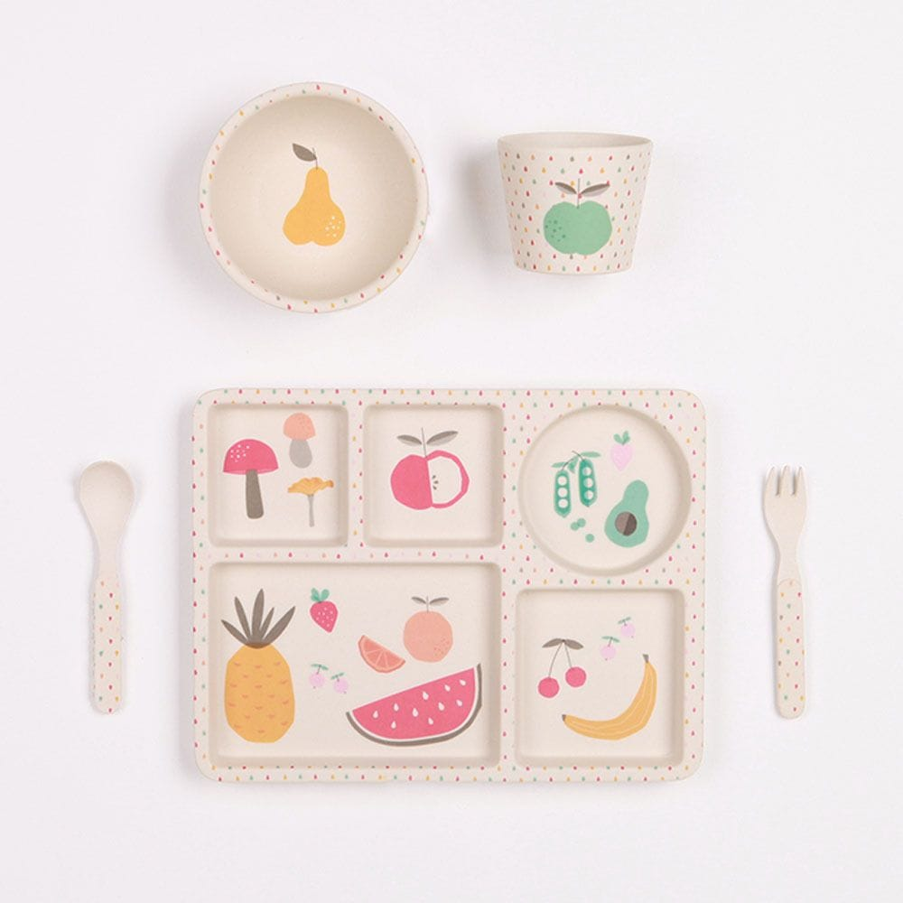 Love Mae - Eat Your Greens - 5 Piece Bamboo Dinner Set
