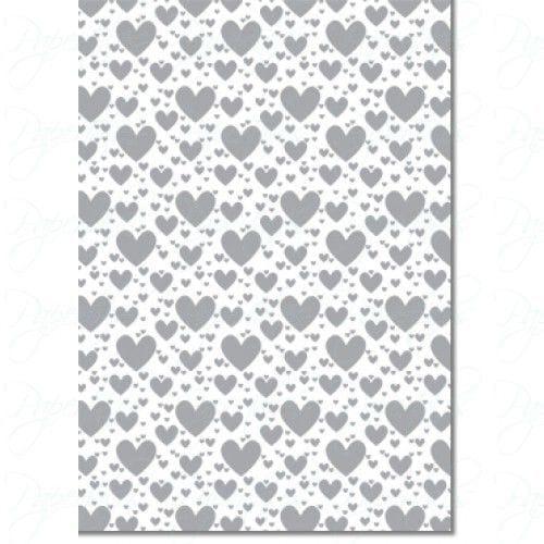 A4 Designer Letterpress Paper 104gsm: Pop Hearts (Silver)