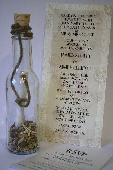 Invitation In A Bottle | Natural Vintage Beach Beige